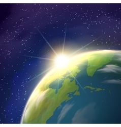 Sunrise earth space view realistic poster vector