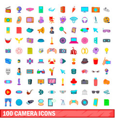 100 camera icons set cartoon style vector