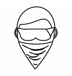 Spy in mask icon outline style vector