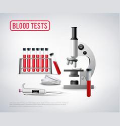 Blood testing set background vector
