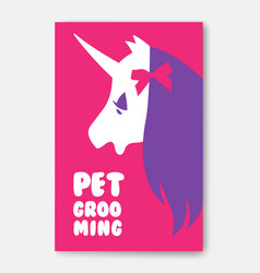 Poster template of pet grooming with unicorn s vector