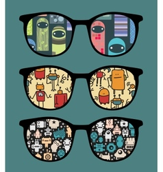 Retro sunglasses with sweet monsters reflection vector image