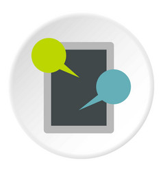 tablet and speech bubble icon circle vector image