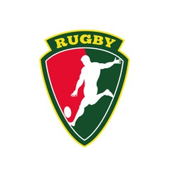 rugby player kicking ball shield vector image