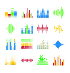 Colorful musical equalizers in form of columns and vector