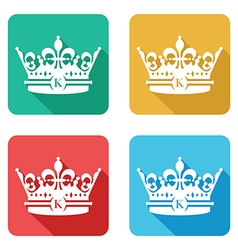 Flat crown icons vector