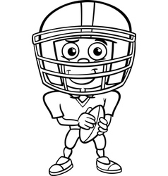 Boy football player coloring page vector