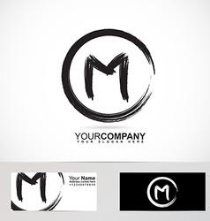 Letter m grunge circle logo vector