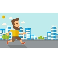 Man do jogging under the heat of sun vector