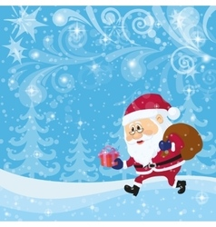 Santa claus in christmas forest vector
