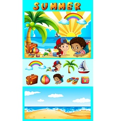 Summer set with children at sea vector