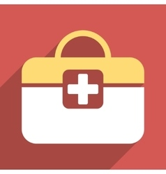 Medical Kit Flat Square Icon with Long Shadow vector image