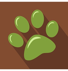 Green Paw Print Icon vector image