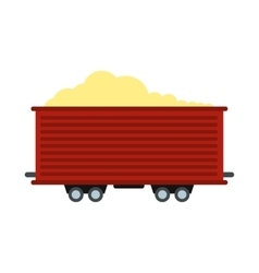 Open rail car icon vector