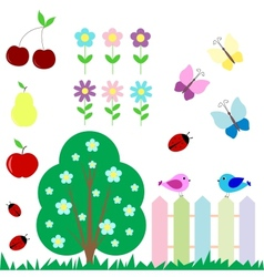 Set of flowers fruits butterflies birds vector