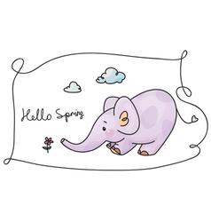 hello spring elephant vector image