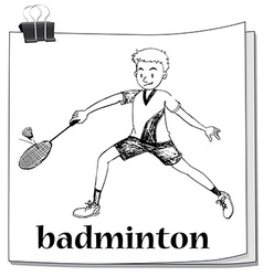 Athlete man playing badminton vector