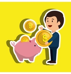 Person with money isolated icon design vector