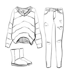 a set of fashionable womens clothing shoes pants vector image