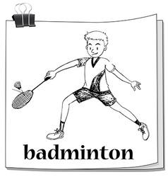 Athlete man playing badminton vector image