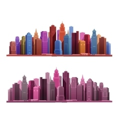 Big city with skyscrapers icons vector