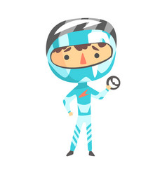 Boy in formula one racer uniform holding a wheel vector