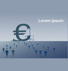 business people group walking to big euro sign vector image