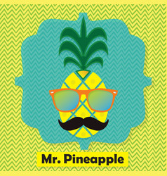colorful cool mr pinapple fruit emblem icon vector image vector image