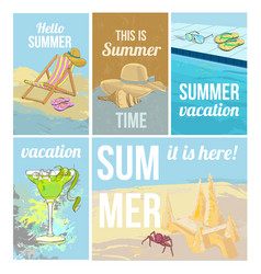 Colorful hand drawn summer vacation posters vector