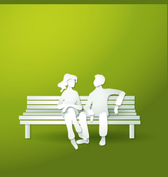 Couple man and woman sitting on the bench vector