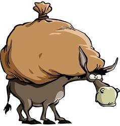 Donkey and bag vector