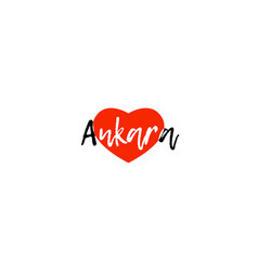 European capital city ankara love heart text logo vector