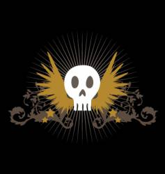 flying skull vector image vector image