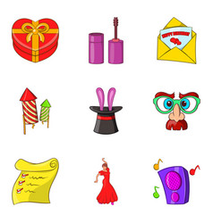 Funny days icons set cartoon style vector