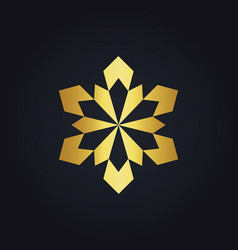 Gold geometry shape flower logo vector