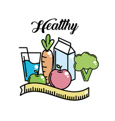 Heathy food to fitness lifestyle activity vector