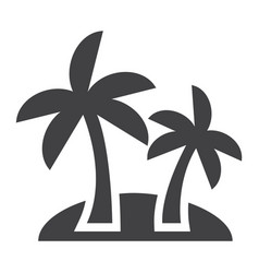 island solid icon travel and tourism palm trees vector image