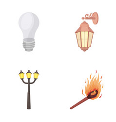 led light street lamp matchlight source set vector image vector image