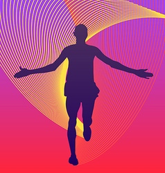 Man running finish of marathon rainbows under the vector image vector image