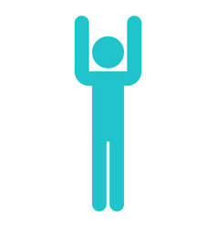 Man sign raised hands human icon vector
