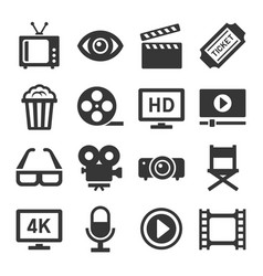 movie cinema icons set vector image vector image