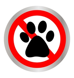 No dog paw sign icon vector