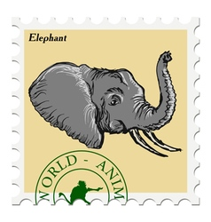 Post stamp with elephant vector