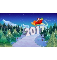 Santa claus sleigh fly over the forest christmas vector