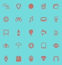 SEO line icons red color vector image