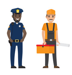 set of black policeman and whiskered builder flat vector image