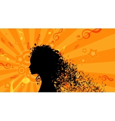 Silhouette of Womans head with Music Hair vector image vector image