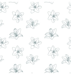 Silver and white seamless pattern with lily Silver vector image