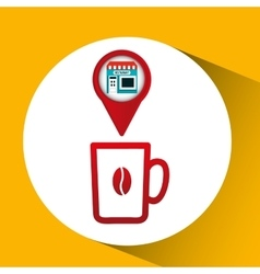 Smartphone coffee store app location vector