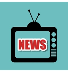 Television retro black antenna graphic vector